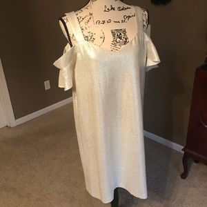 NWT Cream/metallic gold Sheath dress Size 12